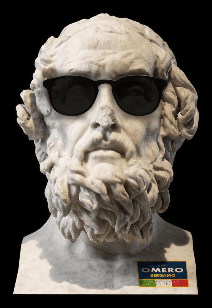 statua del poeta greco Omero che indossa degli occhiali da sole
